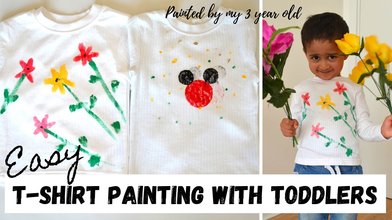Easy Tshirt Painting You Can Do With Toddlers Kids I Mickey Mouse Flower Print I Kid S Craft Ideas Youtube