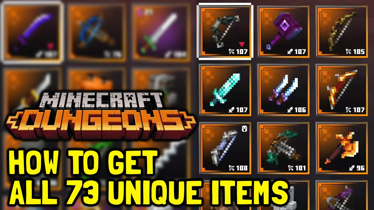 Minecraft Dungeons How To Get All 73 Unique / Legendary Items
