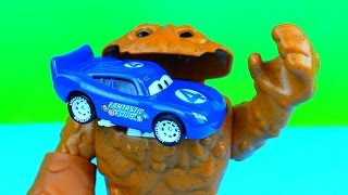 Disney Pixar Cars Lightning McQueen as Fantastic Four McQueen beats robots Joker & Luthor