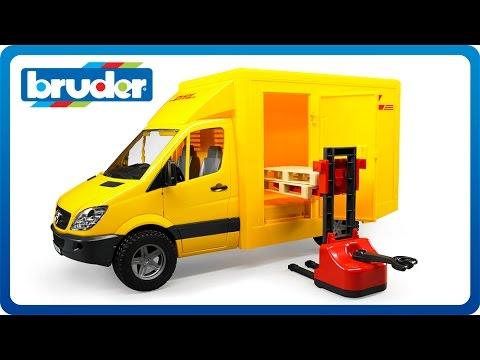 bruder toys mb dhl sprinter w manual pallet jack 02534. Black Bedroom Furniture Sets. Home Design Ideas
