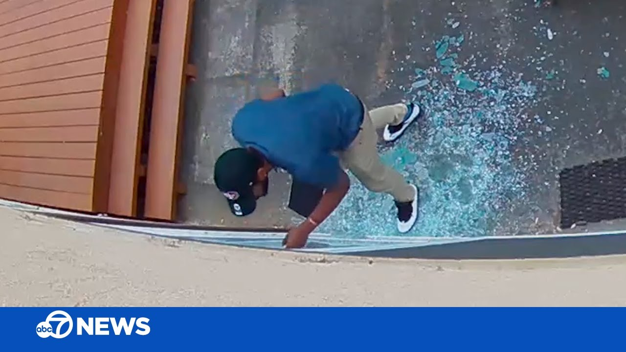 CAUGHT ON CAMERA: Suspect posing as salesman shatters window in burglary attempt