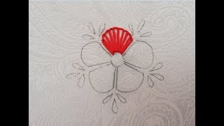 Bordado da mão – Bordado da flor do ponto do furo do botão