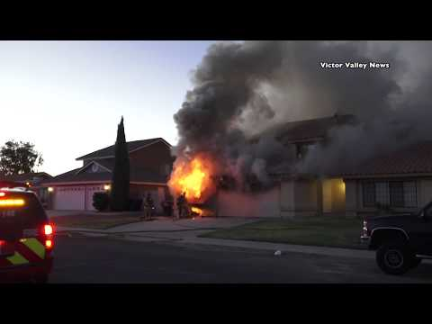 Garage Fire in Victorville on Mica Avenue