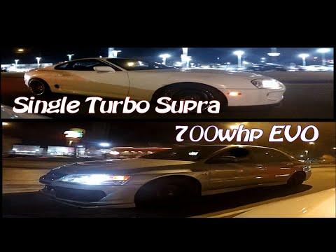 Kid STREET RACING Dad's Tesla P85D vs Turbo Supra + 700HP EVO