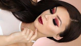 Burgundy smokey eye l Huda Beauty Desert dusk l mauve obsessions palette makeup tutorial