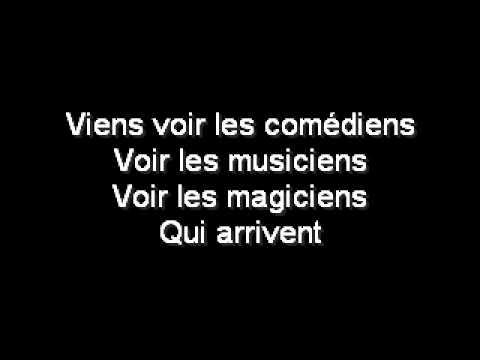 Vox Angeli - Les Comédiens (Lyrics)