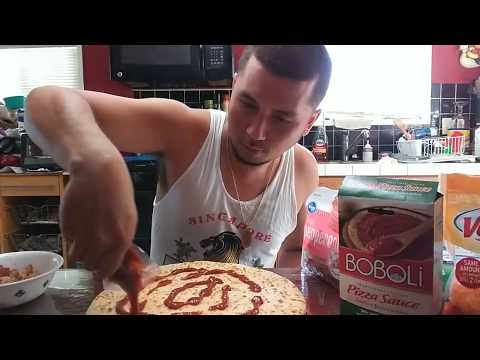 Making A Home Made Pizza | Bacon, Onion and Pepperoni | Mozzarella and Cheddar Cheese