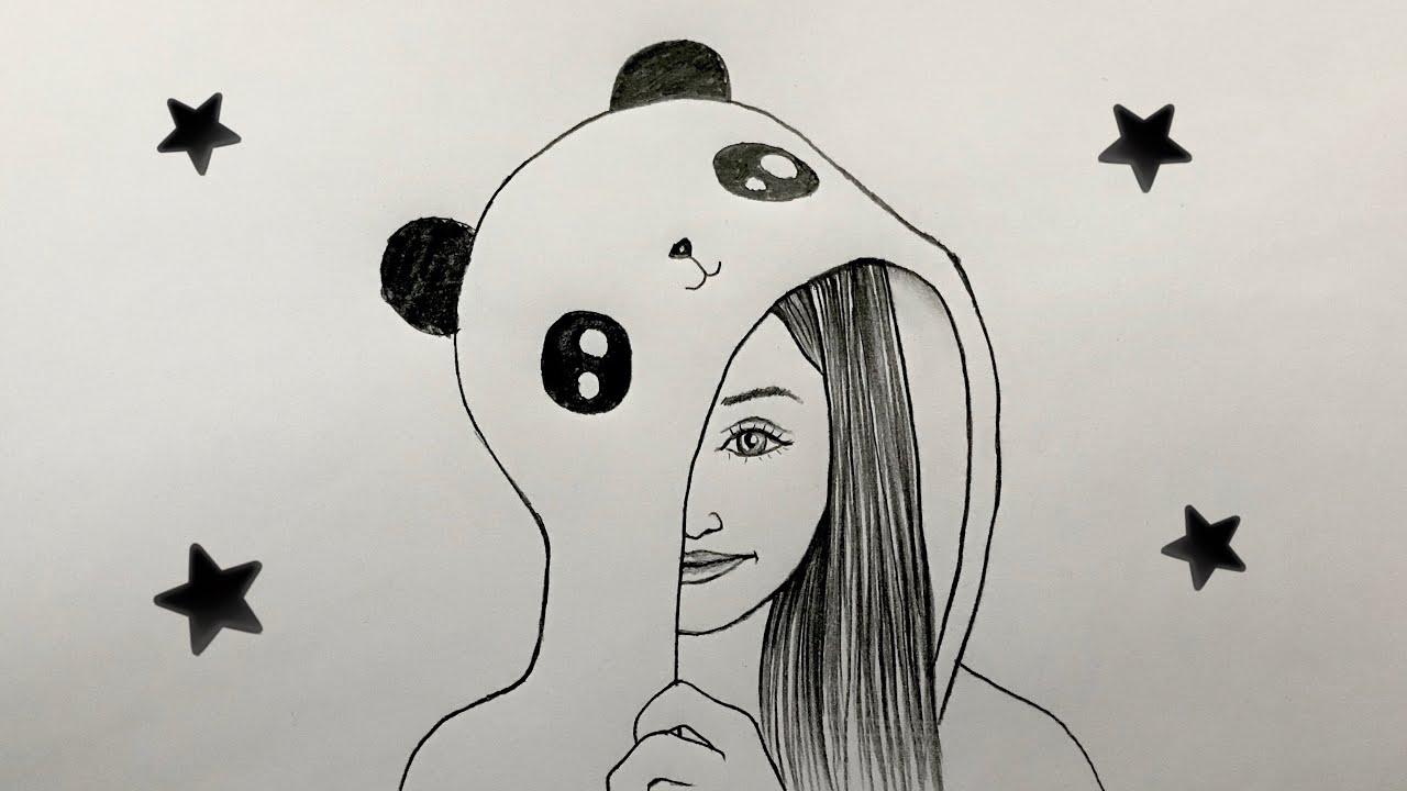 Panda Giysili Kız Çizimi - How to Draw Panda Girl - Girl Drawing