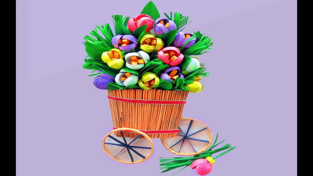 Paper Quilling Flower Basket