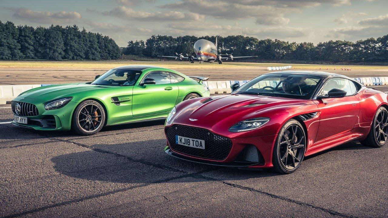 Aston Martin Dbs Superleggera Vs Mercedes Amg Gt R Drag Races Top Gear