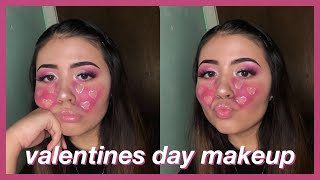 PINK GLITTER HEART TEARS | Valentines Day Makeup