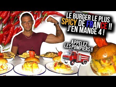 Le BURGER Le Plus SPICY de FRANCE !! J'en Mange 4 ! Appelez les Pompiers !