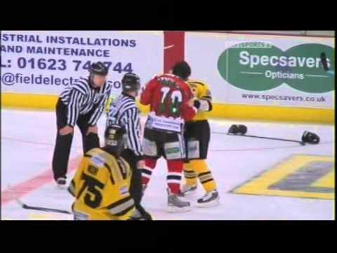 Bruce Richardson vs Ryan Finnerty EIHL fight 26-12-08