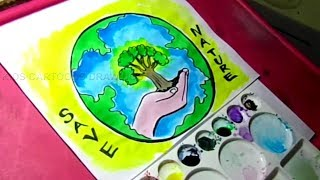 How to Draw Save Nature / Save Environment poster Drawing for Kids