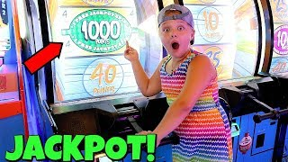 Family Fun Playing ARCADE Games! AUBREY WINS HUGE ARCADE JACKPOT