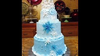 Frozen Themed Stacked Cake with Crown- Cake Decorating