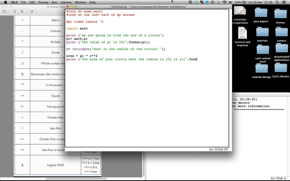Basics Of Python Python Maths Introduction To Maths And How To Find The  Area Of A