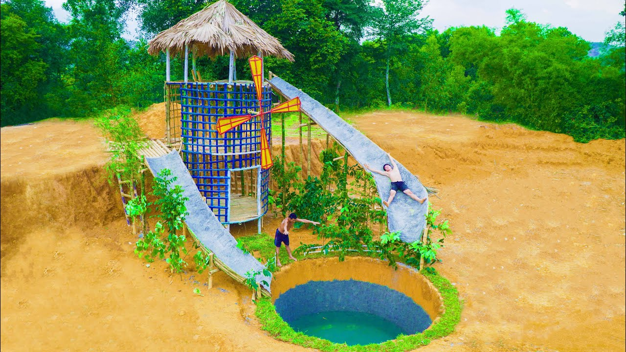 72 Days Build Storey House With Windmill And Two Water Slides Into Underground Swimming Pool
