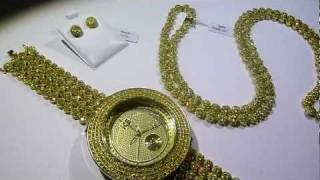 "LEMONADE COMBO #5 Lab Made YELLOW Diamond ""Watch+Cluster Chain+Earrings video - Gucci Mane jewelry"