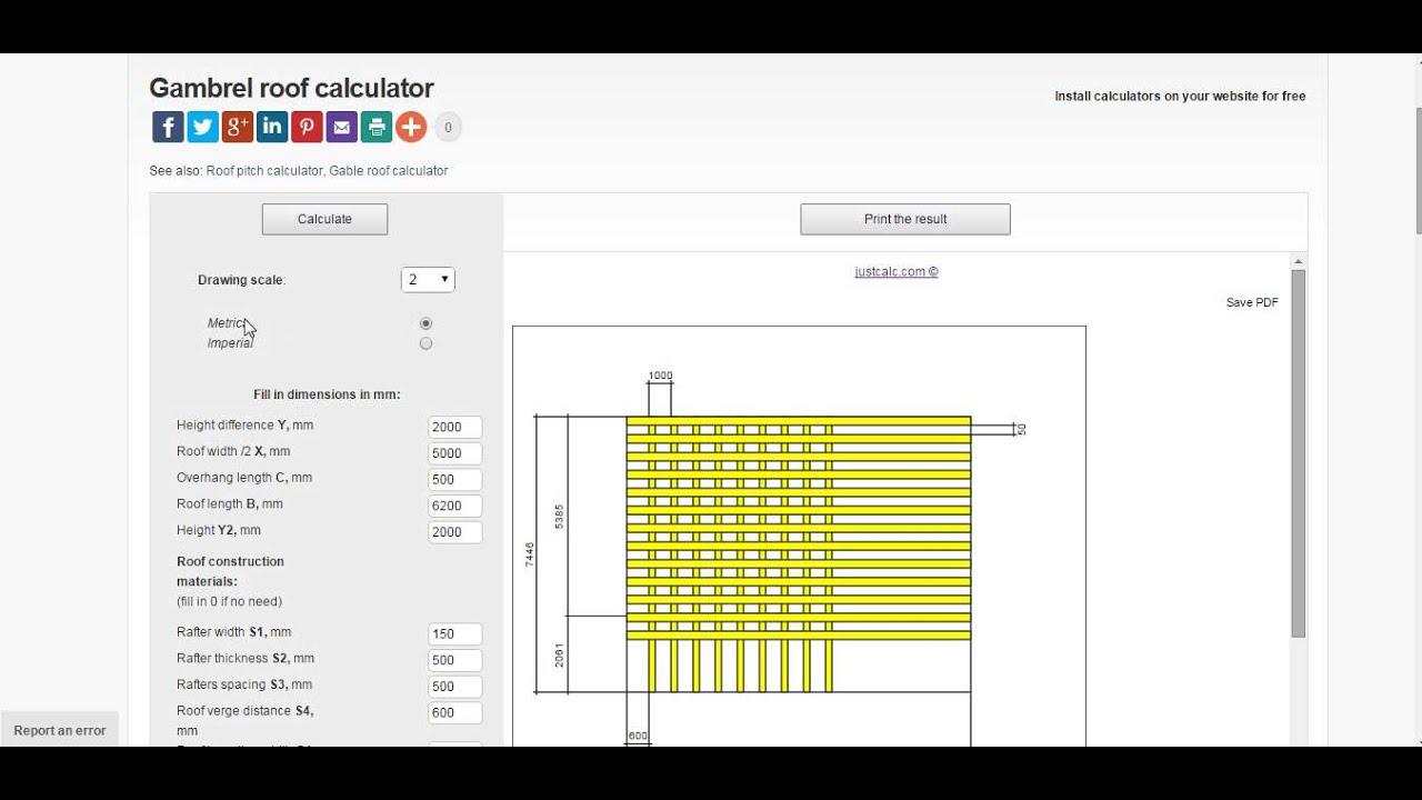 Gambrel Roof Calculator Instructions | JustCalc.com