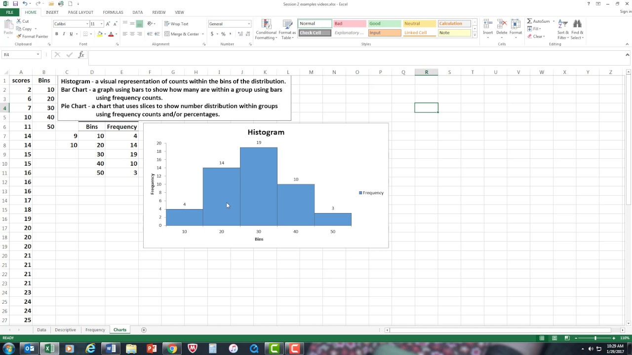 Histograms bar chart pie chart using excel youtube histograms bar chart pie chart using excel nvjuhfo Gallery