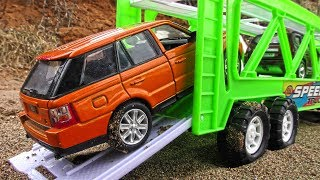 Toy Cars Transportation through sand and snow by Car Transporter + more