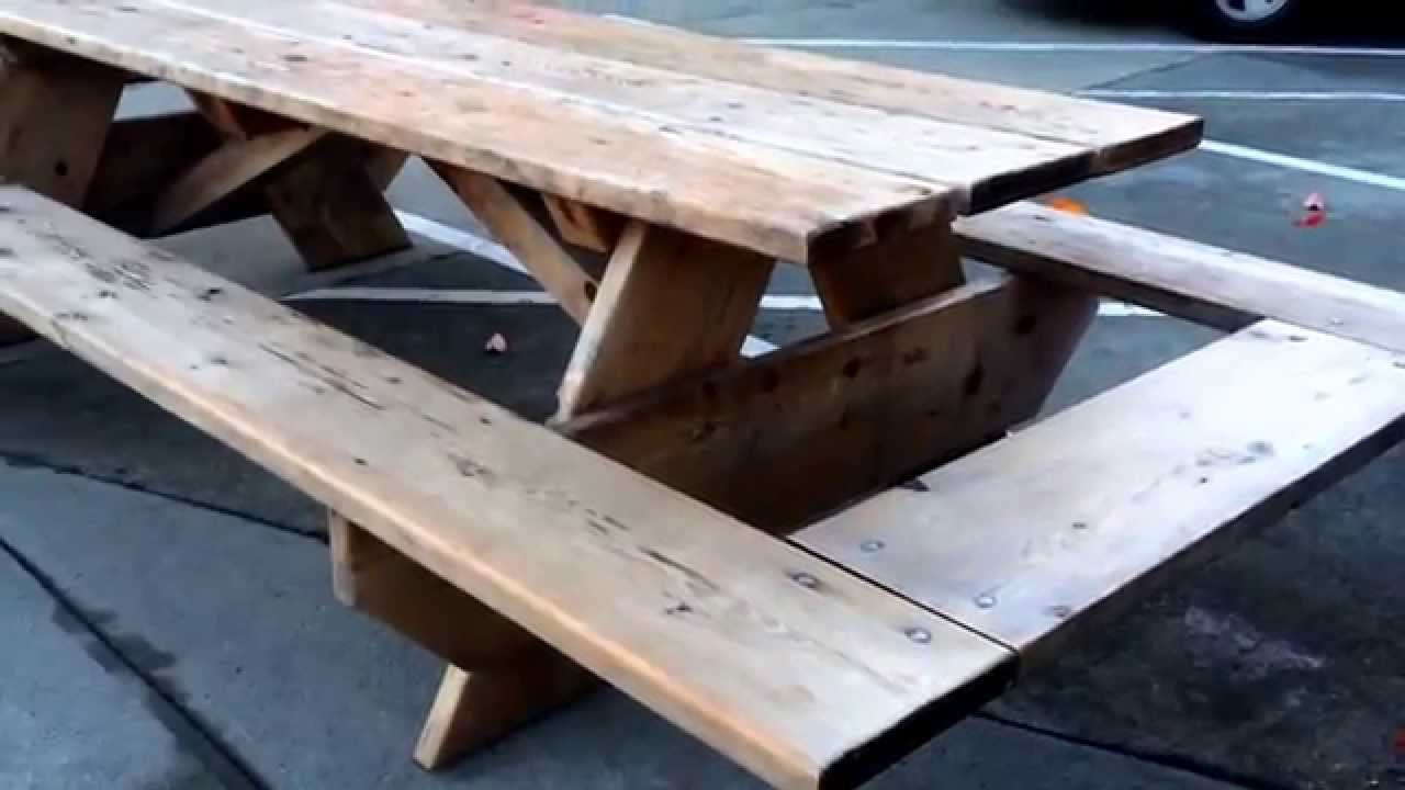 Large Picnic Table With End Benches YouTube - Large outdoor picnic table