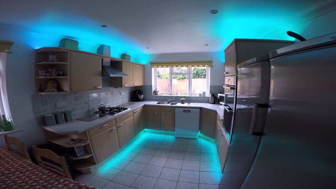 Rgb led strip lights in the kitchen youtube rgb led strip lights in the kitchen workwithnaturefo