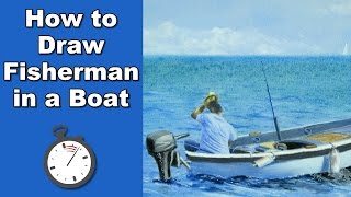 How to Draw a Fisherman in a Boat in Pastel Time Lapse