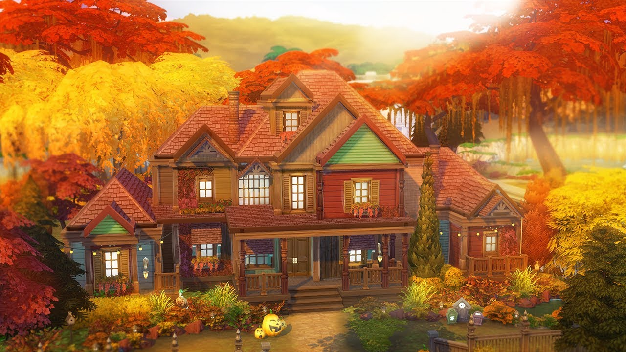 the sims 4 autumn dream home speed build youtube