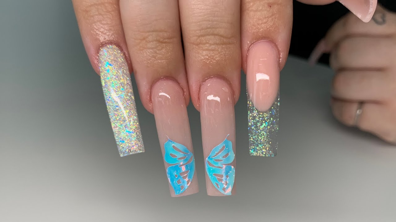 Tapered square acrylic nails  nude and gold Butterflies