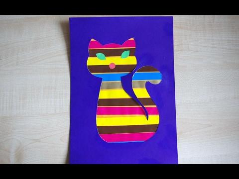 Котик. Аппликация для детей из цветной бумаги. Поделки в детский сад и школу.