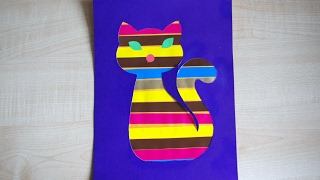 """Кот. Аппликация для детей из цветной бумаги. Поделка """"Кошка"""" в детский сад."""