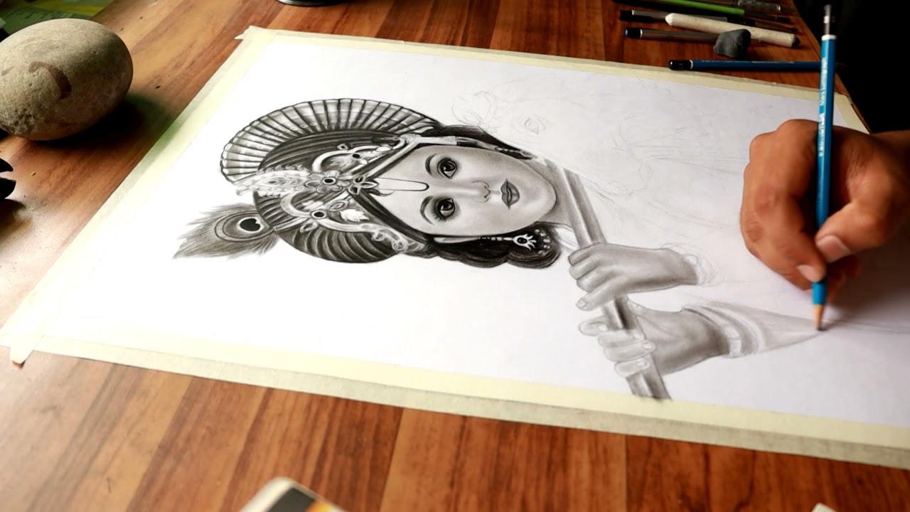 😍 Cute Krishna Painting 🎨