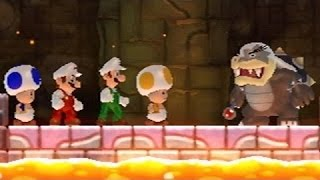 New Super Mario Bros Wii - All Bosses (4 Players)