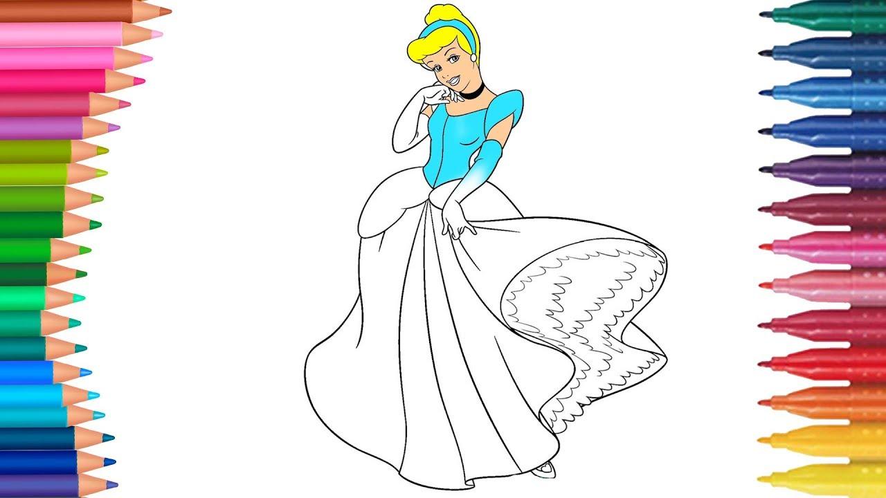 Halaman Mewarnai Cinderella Buku Mewarnai Tangan Kecil Youtube