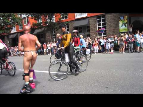 Naked Bike Riders in the Streets of Seattle (PrideFest 2014) (Seattle, WA)