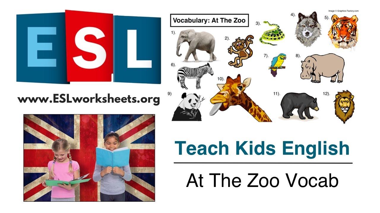 esl animals worksheet at the zoo vocabulary youtube. Black Bedroom Furniture Sets. Home Design Ideas