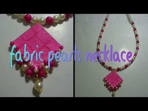 DIY// PEARL DESIGNER NECKLACE AT HOME//FABRIC NECKLACE