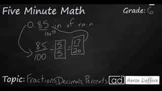 6th Grade Math Fractions, Decimals, and Percents