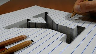 Draw a Letter Y Hole on Line Paper   3D Trick Art
