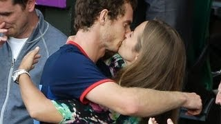 Andy Murray Kissing Girlfriend Kim Sear Wimbledon FULL