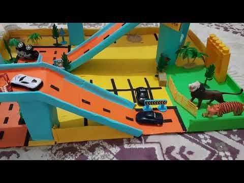 Karton otopark karton otoyol cartoon otopark zoo for baby cocuk hayvanat bahcesi oyuncak arabalar