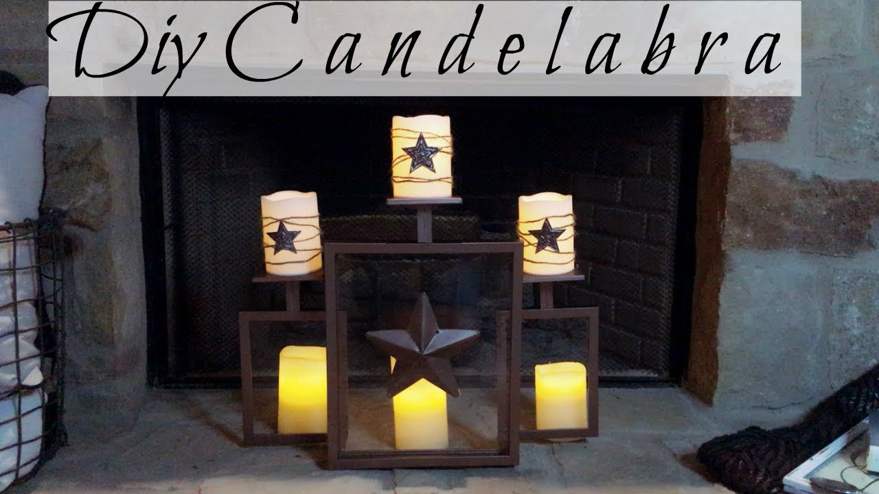 dollar tree diy rustic candelabra for your fireplace great empty rh youtube com  diy candle fireplace