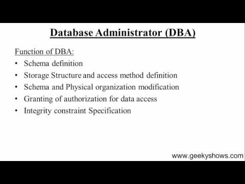 16. Database Administrator in Database Management System (Hindi)