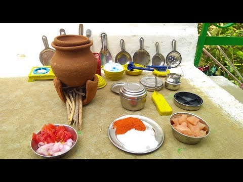 Mini Food Chicken Dry | Tiny Cooking | Miniature cooking In Pot