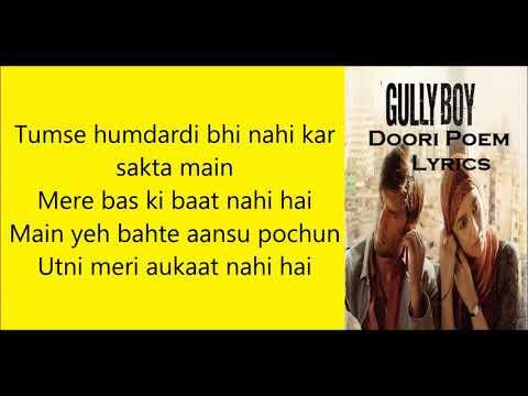 Doori Poem Lyrics   Ranveer Singh Gully Boy  