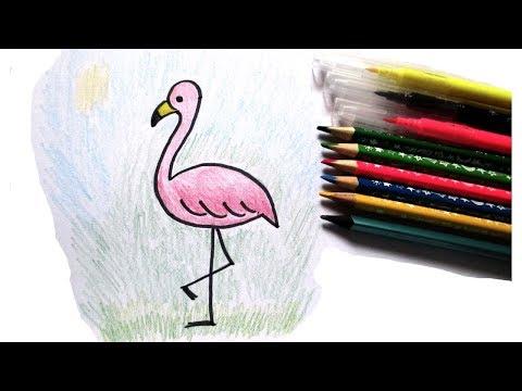 Фламинго карандашами Как нарисовать Простые рисунки для детей How To Draw