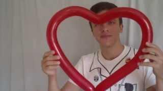 Как сделать сердце из одного шарика. Обучающий урок. How to make a heart out of an air balloon.