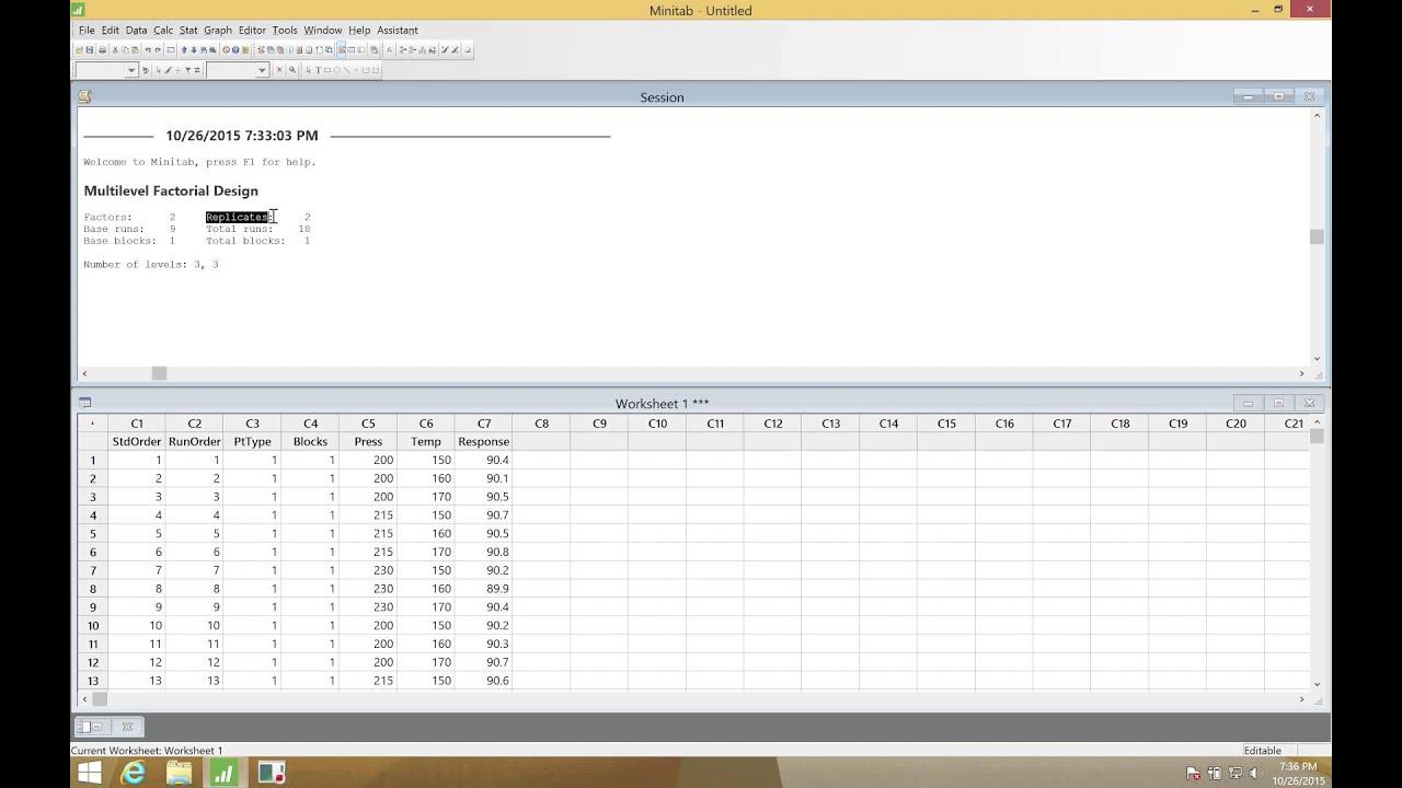 minitab 17 0 stat doe factorial create factorial design